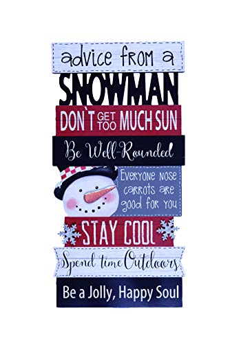 Transpac Imports D1558 Snowman Advice Art Wall Décor, Blue - Plate Snowman Family