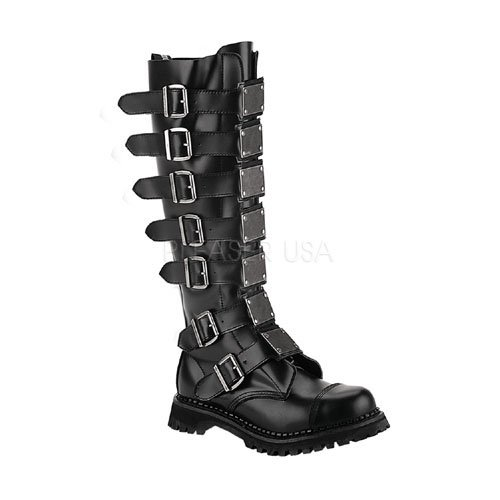 Reaper-30, 30 Eyelet Metal Plates Steel Toe Black Leather Knee Boot Demonias Knee Boots