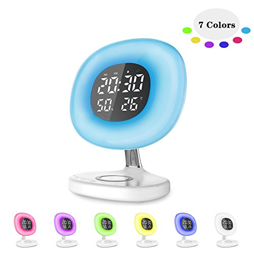 Sokos Sunrise Alarm Clock, [2018 Upgraded] Wake Up Alarm Clock Wireless Charger 6 Nature Sounds, Alarm Clock Light Bedrooms, Kids, Heavy Sleepers (White)