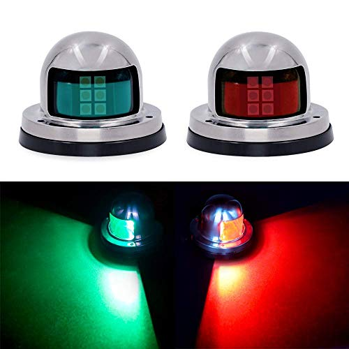Osaid Boat Navigation Light LED, Deck Mount LED Navigation Lights (Red and Green) Perfect for Boat, Pontoon, Yacht, Skeeter, Sailing Signal Lights, DV 12V, Stainless Steel Cover