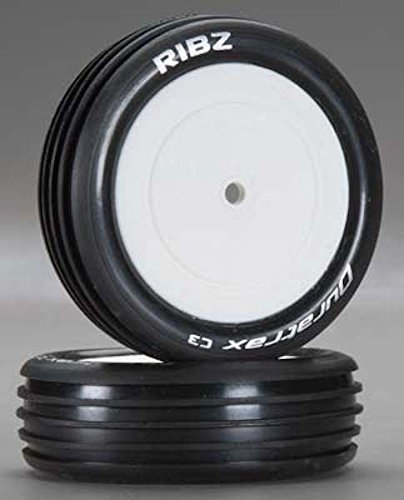 Duratrax Ribz 1:10 Scale RC 2WD Buggy Tires with Foam Inserts, C3 Super Soft Compound, Mounted on Front White Wheels, Fits the Losi 22 (Set of 2)