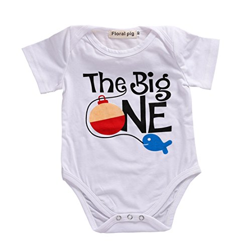 One Playsuit (Newborn Baby Onesie Bodysuit Girl Boy Letter Fish Romper White Jumpsuit Playsuit Outfits (100 (12-18 Months), White))