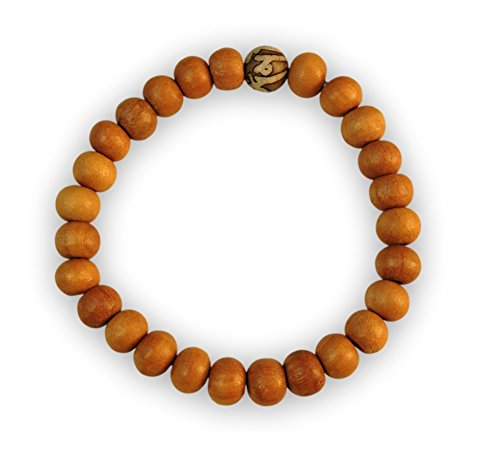 Chakra Crafts Healing Wood Bead Wrist Mala Yoga Bracelet with Stretchy Cord (Handmade) WB1 (Om Mani Conch Shell)