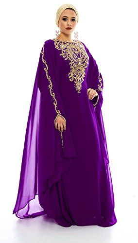 Covered Bliss Lanya Kaftan for Women-Long Sleeve Maxi Dress, Gown Formal Chiffon Embroidered (Purple, -