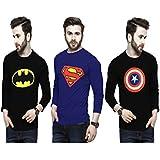Smartees Cotton Superman, Batman & Captain America Printed Tshirt for Men Combo Pack of 3