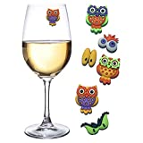 Owl Wine Charms - a Hoot for Owl Lovers - Set of 6 Magnetic Drink Markers by Simply Charmed