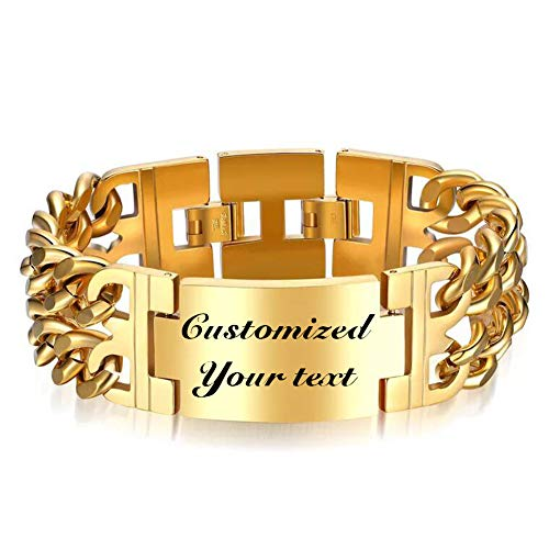 Thintom Men's ID Name Bracelet Stainless Steel Personalized Gift for Him Customized Engrave (Gold)
