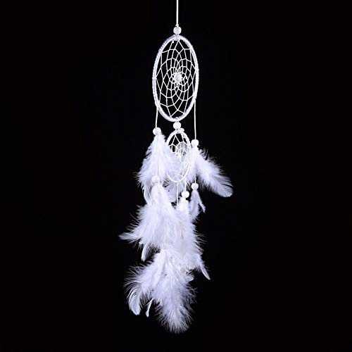 Feather Hair - 2016 White Dreamcatcher Wind Chimes Indian Style Beads Feather Pendant Wall Window Decor - Light Lamp Plug Industrial Fixture Speakers Medallions Bronze Mount Pendant Con