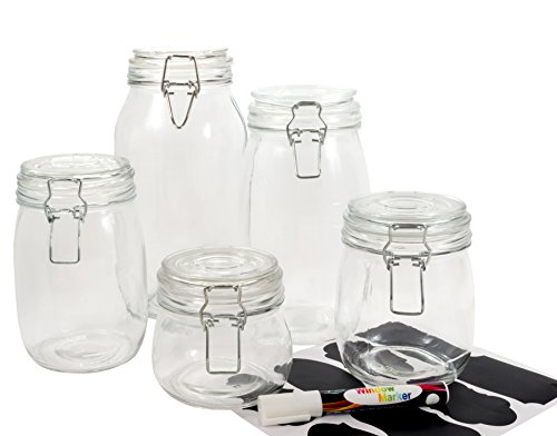 clear glass canisters for kitchen homequip 5 airtight canister set with clip top lids 23312