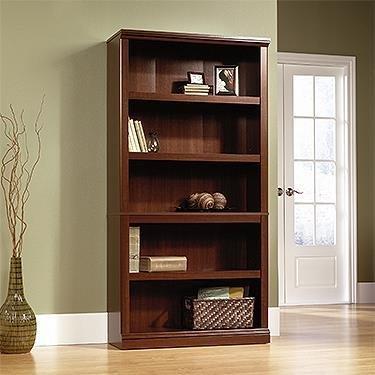 Sauder 412835 Sauder Select 5-Shelf Bookcase, Select Cherry Finish (Cherry Bookshelf Wood)