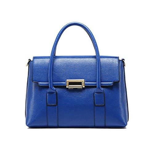 Mujer Nuevo Estilo Europa Y América Moda Simplicidad Capacidad Grande Bolso De Hombro Inclinado Solo Bolso De Hombro Bolso Blue