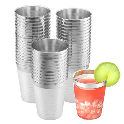 Elegant Silver Rimmed Clear Hard Plastic Cups (50 Pack) | 10-Ounce Break Resistant Disposable Wine Tumblers | Premium WeStunning Drinking Cups for Any Eventdding Party Bar Supplies & Dessert Cups |