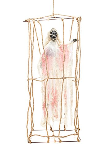 Animated Undead Skeleton Death Cage Witch Ghost Scary Halloween Party Decorations (Beige, White, (Caras De Esqueletos Halloween)