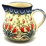 Polish Pottery Creamer - 4 oz. - Crimson Bells