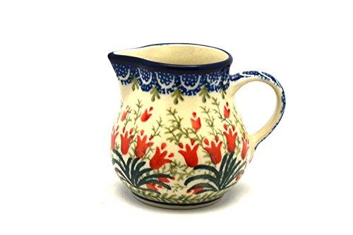 (Polish Pottery Creamer - 4 oz. - Crimson Bells)
