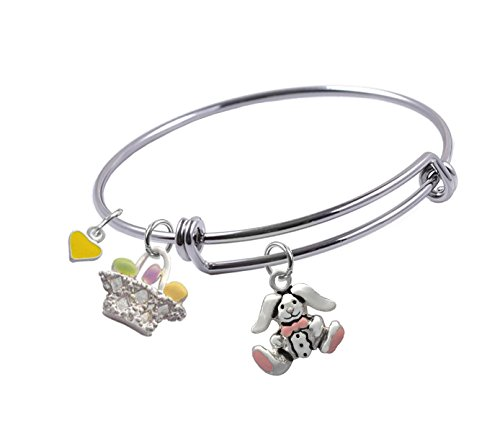 Expandable Wire Bangle bracelet with Easter Bunny, Easter Basket and Heart charms, (Basket Bangle Bracelet)