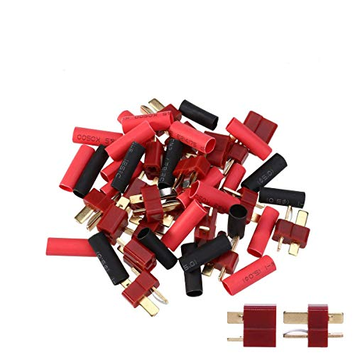 10 Pairs Ultra T-Plug Connectors Deans Style Male and Female with 20pcs Shrink Tubing for RC LiPo Battery (Banana Male Ultra Plugs Deans)