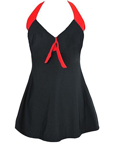 Tempt Me Women One Piece Retro V-neckline Solid Color Halter Swimdress Black XXL (Slutty Sailor)