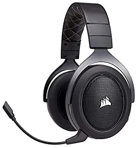 CORSAIR HS70 Wireless Gaming Headset - 7.1 Surround Sound Headphones for PC - Discord Certified - 50mm Drivers – Carbon