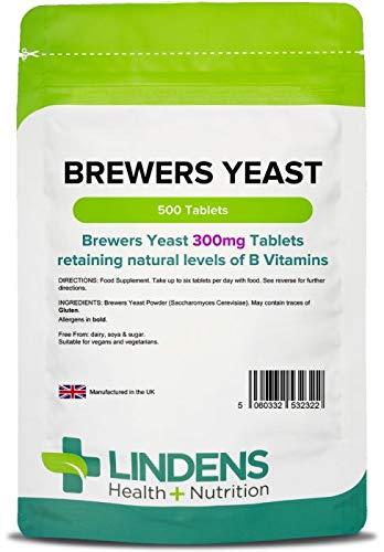 Lindens Levadura de cerveza 300 mg en comprimidos | 500 Paquete | Fuente natural de vitaminas