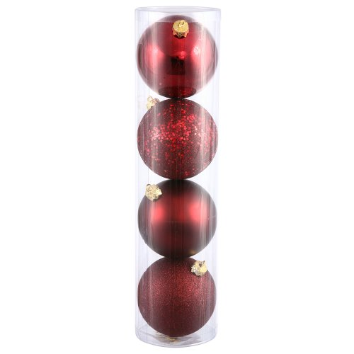 Vickerman 4-Finish Assorted Plastic Ornament Set & Seamless Shatterproof Christmas Ball Ornaments with Drilled Cap, Assorted 4 per Bag, 10'', Burgundy by Vickerman
