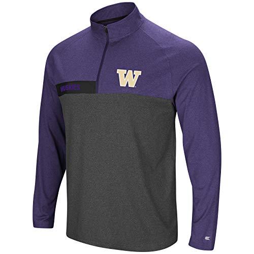 Colosseum Men's NCAA-No Mercy-1/4 Zip Pullover Windshirt-Washington Huskies-Heather Purple-XL