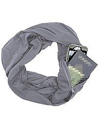 L'vow Infinity Scarf With Pocket Secret Hidden Zipper Pocket Travel Scarfs Solid Colors
