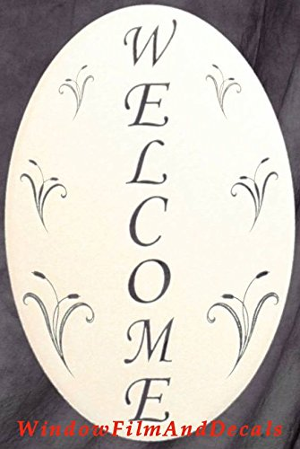 Oval Welcome Sign Etched Window Decal Vinyl Glass Cling - 10.5