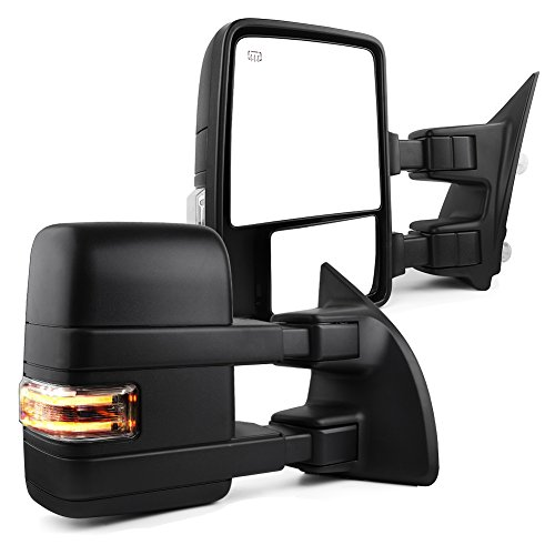 Towing Mirrors for 2008-2016 Ford F250/F350/F450 Super Duty Pair Set Telescoping Power Heated Puddle Light Signal Light with Air Temperature Sensor Tow Mirrors