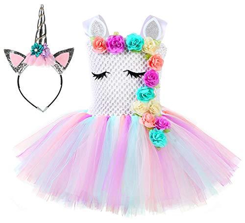 Tutu Dreams Unicorn Costume for Girls Birthday Party Outfits Halloween Unicorn Dress Up (White, ()
