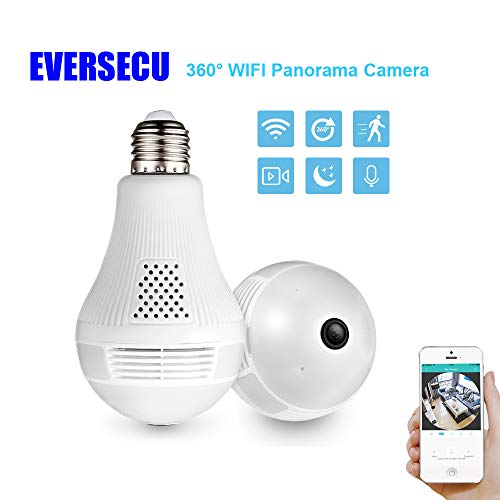 🥇 360° Panoramic View WiFi IP Bulb Camera with FishEye Lens 360 Degree 3D VR Panoramic View Home Security CCTV Camera Wirelss Security Camera