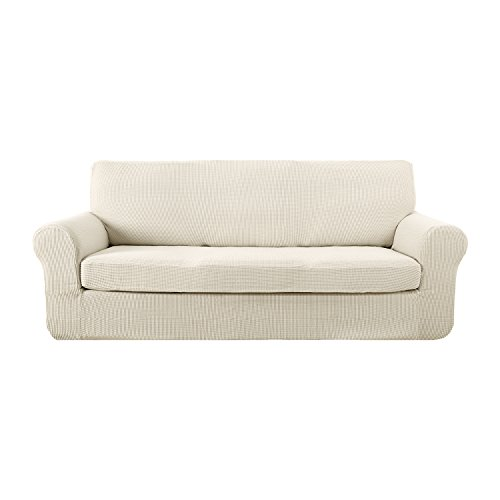 3 Piece Small Sectional - Deconovo Sofa Chair Cover Fitted Spandex Sofa Furniture Protector Jacquard Stretch Anti-wrinkle Slip Resistant Solid Couch Cover for Living Room Ivory White