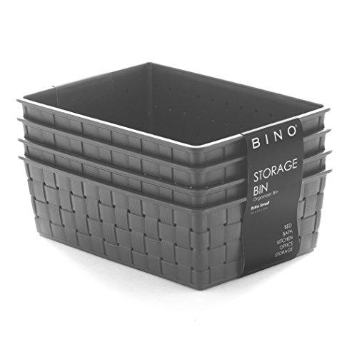 BINO Woven Plastic Storage Basket (4PK- XS, Grey)