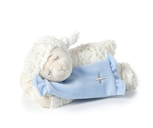 (DEMDACO Blue Now I Lay Me Down To Sleep Lamb With Cross Blanket Children's Plush Stuffed Animal Toy)