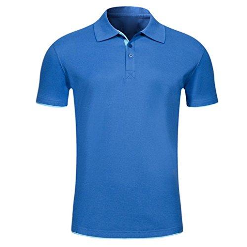 Bluestercool Hommes Polo Shirt Tops Été Casual Manches Courtes Slim Boutons T-Shirt 06