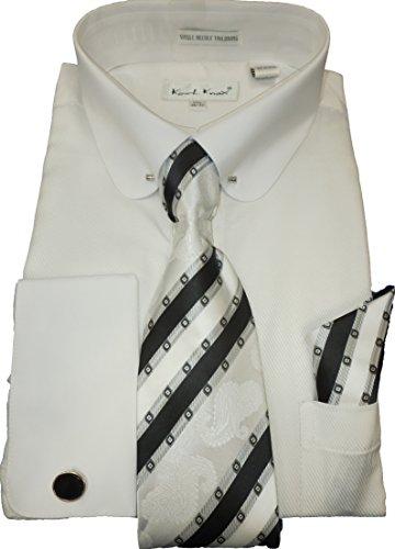 Gorgeous White Eyelet - Karl Knox SX4380 White Round Eyelet Collar Bar French Cuff Dress Shirt (2XL 18.5 Collar 36/37 Sleeve)