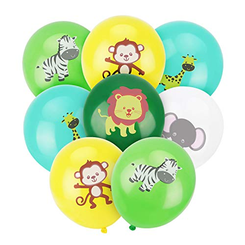 ALBABE Jungle Safari Animals Balloons - 50pcs 12 Inch Latex Animal Balloons for Jungle Safari Animals Theme Birthday Party Decorations