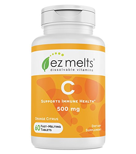 - EZ Melts C for Immune Support, 500 mg, Sublingual Vitamins, Vegan, Zero Sugar, Natural Orange Flavor, 60 Fast Dissolve Tablets