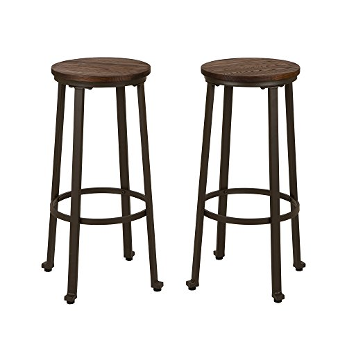Glitzhome Rustic Steel Bar Stool Round Wood Top Dining Room Pub Chairs Set of Two by Glitzhome