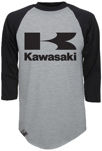 Factory Effex (17-87128) 'KAWASAKI' Raglan Baseball Shirt (Heather Gray/Black, XX-Large)