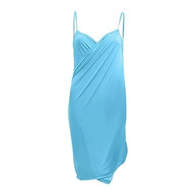 d448072b92 TOPTIE Open Back Cover-up Beach Dress/Swimsuit Bikini Dress Cover Up-Blue