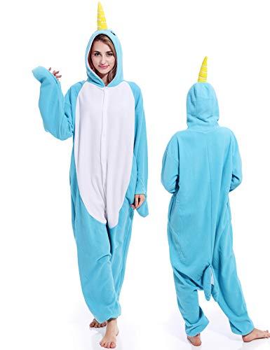 Unisex Narwhal Onesies Adult Pajamas Animal Halloween Xmas Costume Cosplay One Piece Sleepwear for Women ()