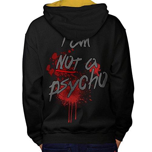 Psycho Halloween Horror Men M Contrast Hoodie Back | Wellcoda
