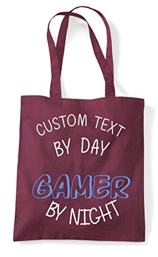 Bag Shopper Burgundy Tote By Personalised Gamer Night Text Day Custom Statement Gaming COwz7O