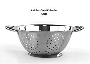 5 Qt Deep Stainless Steel Colander - Durable Strainer