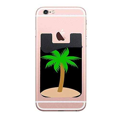 Sand Clipart Palm Tree Universal 2 Pack Cell Phone Stick On Wallet Card Holder Phone Pocket for iPhone, Android and All Smartphones