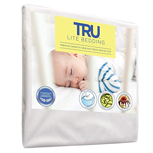 TRU Lite Bedding Waterproof Mattress Protector - Hypollergenic Dust Mite Bed Cover - Smooth Breathable Mattress Cover - Protection from Dust Mites, Allergens, Bacteria, Urine - Crib Size
