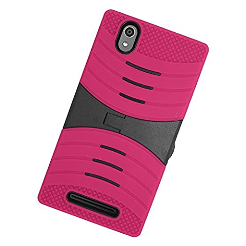 Zizo ZTE ZMax Z970 UCASE Cover with Kickstand - Retail Packaging - Hot Pink (Zte Zmax Phone Case Z970)