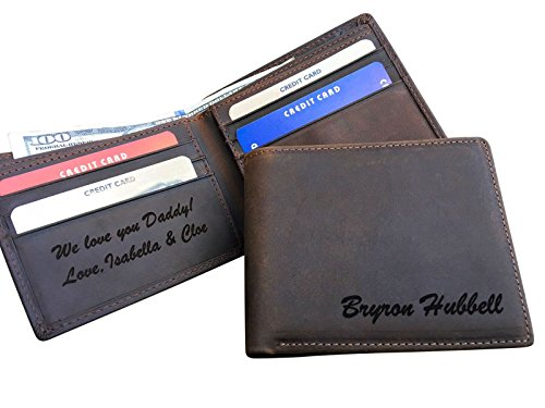 RFID Blocking Personalized Real Leather Men's Bifold Wallet Monogrammed with Custom Message Inside, Gifts for Boyfriend Husband Dads Anniversary Christmas Graduation -