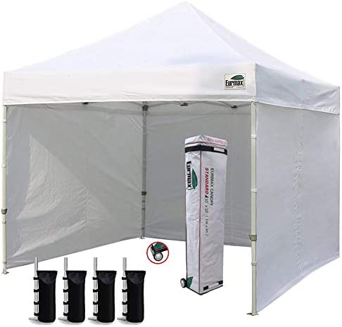 Eurmax 10 x10 Ez Pop-up Canopy Tent with 4 Removable Side Walls and Roller Bag, Bonus 4 SandBags, White